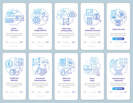 Payments onboarding mobile app page screen vector template. Transaction guide. Traditional methods. Walkthrough website steps with linear illustrations. UX, UI, GUI smartphone interface concept