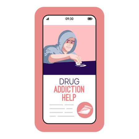 La adicción a las drogas ayuda a la pantalla de la aplicación de vector de teléfono inteligente de dibujos animados. Pantalla de teléfono móvil con maqueta de diseño de personajes planos. Estilo de vida problemático. Comportamiento destructivo que supera la interfaz telefónica de la aplicación