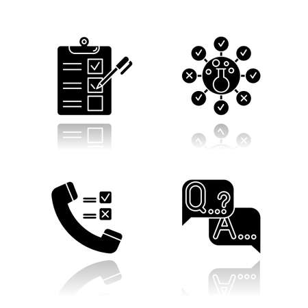 Survey methods drop shadow black glyph icons set. Telephone poll. Chemical analysis. Questionnaire. Interview. Public opinion. Customer review. Feedback. Data collection. Isolated vector illustrations