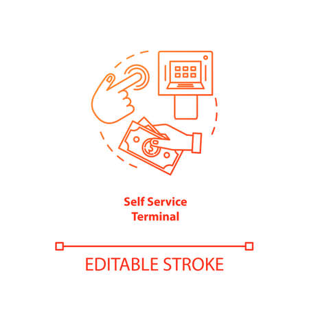 Self Service Terminal red gradient concept icon. Customer-operated checkout idea thin line illustration. Payment system. Shopping checkout. Electronic transaction. Vector isolated outline drawing