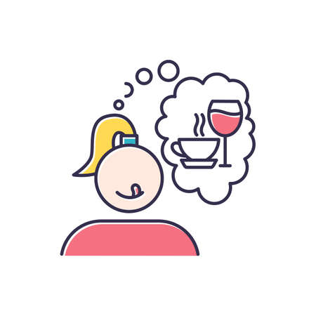 Alcohol and coffee craving color icon. Thirsty woman. Woman thinking of wine. Unhealthy eating habit. Thought of drinks. Girl desire for tea. Tasty beverage. Isolated vector illustration