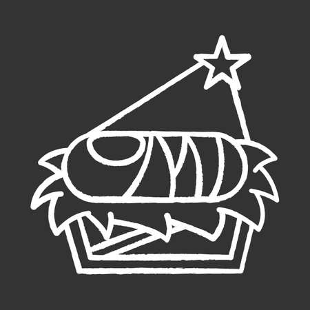 Nursery with baby Jesus chalk icon. Holy infant in manger on straw under light of Bethlehem star. Christmas. Birth of messiah. Bible narrative. Isolated vector chalkboard illustration Ilustracja