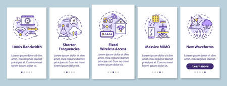 5G technologies onboarding mobile app page screen with linear concepts. Shorter frequencies. Massive MIMO. Five walkthrough steps graphic instructions. UX, UI, GUI vector template with illustrations