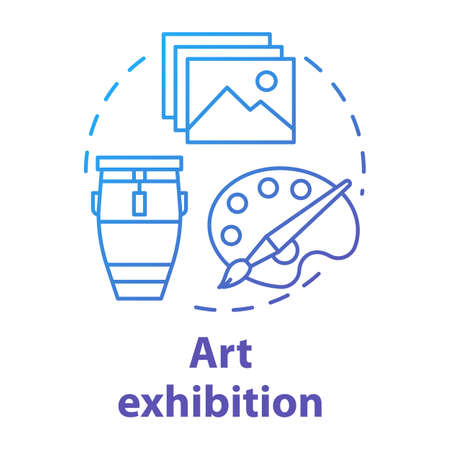 Art exhibition concept icon. Drawing and paintings exposition. Cultural piece. Artwork and masterpiece showcase. Gallery exposition idea thin line illustration. Vector isolated outline drawing