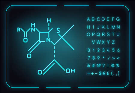 Chemical molecular formula neon light icon. Bonding arrangement of atoms within molecules. Organic chemistry scheme. Compounds of element. Glowing sign with alphabet. Vector isolated illustration Stock Vector - 137345746