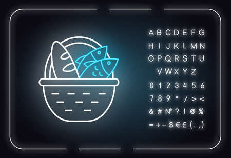 Bread and fish in basket neon light icon. Feeding the multitude. Holy week. Miracle of Christ. New Testament. Glowing sign with alphabet, numbers and symbols. Vector isolated illustration
