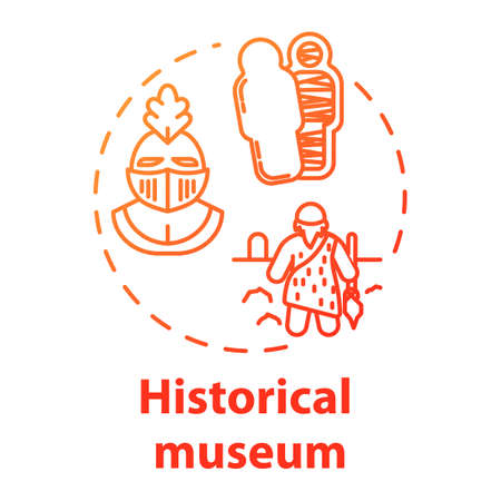Historical museum concept icon. Paleontology and anthropology. Ancient archeological artifact. Sarcophagus, helmet. Cultural exhibition idea thin line illustration. Vector isolated outline drawing 일러스트