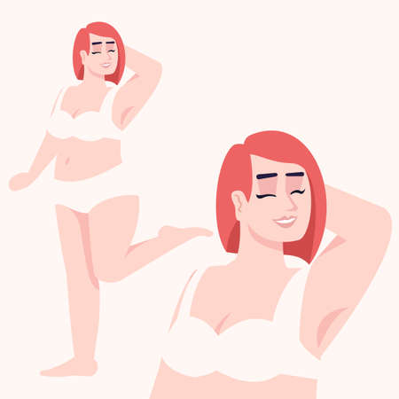 Woman dressed in two-piece swimsuit flat vector illustration. Body positive. Plus size figure. Excess weight. Caucasian smiling lady with red hair isolated cartoon character on white background