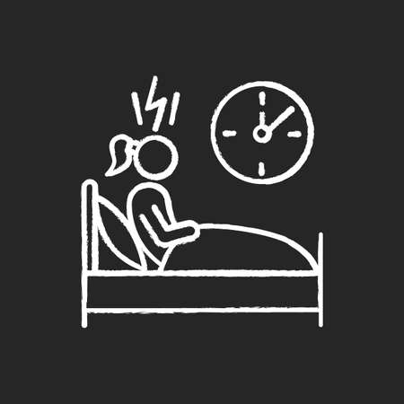 Change in sleep pattern chalk icon. Insomnia. Troubled woman. Stress, anxiety. Person awake in bed. Sleep deprivation. Restless girl. Night time panic attack. Isolated vector chalkboard illustration  イラスト・ベクター素材