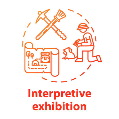 Interpretive exhibition concept icon. Archeology excavation, anthropology. Ancient history item display. Interactive museum exposition idea thin line illustration. Vector isolated outline drawing