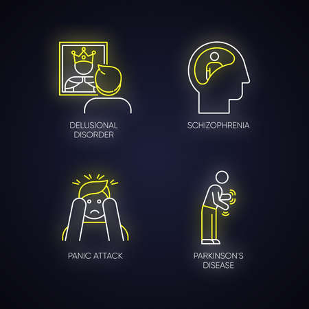 Mental disorder neon light icons set. Delusional person. Schizophrenia. Panic attack. Parkinson disease. Megalomania. Confused mind. Dementia. Glowing signs. Vector isolated illustrations Иллюстрация