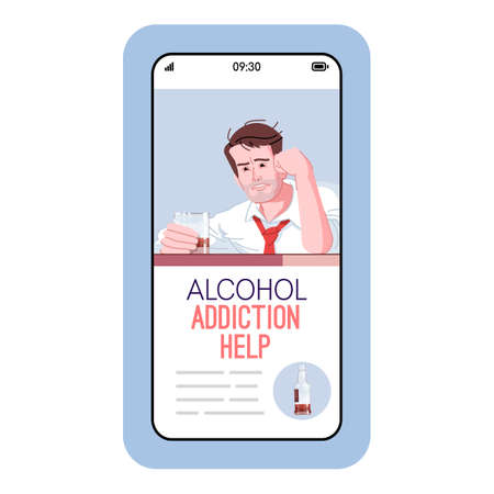 Alcohol addiction help cartoon smartphone vector app screen. Mobile phone displays with flat character design mockup. Assistance to addicts. Alcoholism overcoming application telephone interface