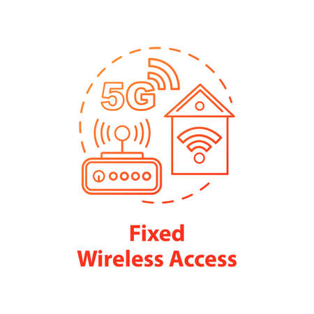 Fixed wireless access concept icon. Global coverege. 5G technologies idea thin line illustration. Mobile internet. High-speed connection. Vector isolated outline drawing. Editable stroke