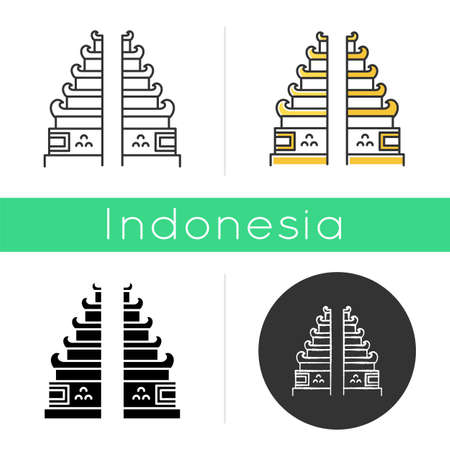 Pura Lempuyang temple icon. Indonesian religious places. Hinduist candi bentar split gate entrance. Balinese sightseeing. Linear, black, chalk and color styles. Isolated vector illustration 일러스트