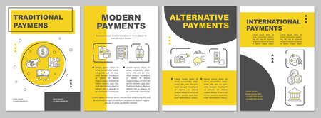 Payments brochure template. Traditional, modern money transfers. Flyer, booklet, leaflet print, cover design with linear icons. Vector page layouts for magazines, annual reports, advertising posters Ilustrace