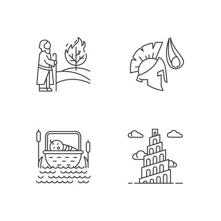 Bible narratives linear icons set. The birth of Moses, David and Goliath, Babel tower myths. Biblical stories. Thin line contour symbols. Isolated vector outline illustrations. Editable stroke