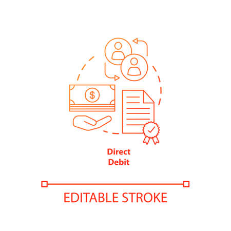 Direct debit red gradient concept icon. Financial withdrawal idea thin line illustration. Bank transaction. Online banking operation. Payment method. Vector isolated outline drawing