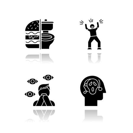 Mental disorder drop shadow black glyph icons set. Bulimia. Eating disorder. Hysteria. Anxiety, depression. Paranoia. Fear and phobia. Psychosis. Psychiatric illness. Isolated vector illustrations