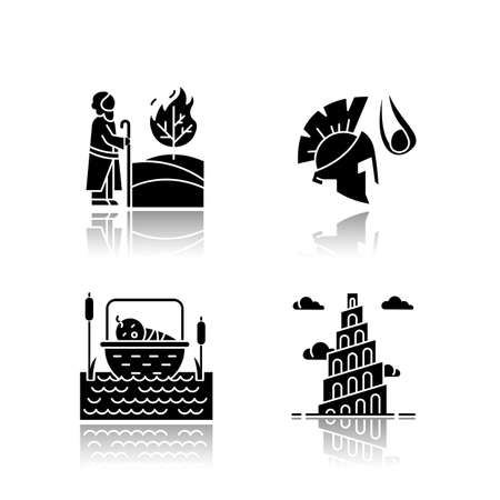 Bible narratives drop shadow black glyph icons set. The birth of Moses, David and Goliath, Babel tower myths. Religious legends. Christian religion, holy book scenes. Isolated vector illustrations