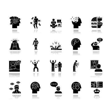 Ensemble d'icônes de glyphe noir de l'ombre portée des troubles mentaux. Délires, schizophrénie. Amnésie. Trouble bipolaire. Boulimie, anorexie. Spectre autistique. Syndrome obsessionnel-compulsif. Illustrations vectorielles isolées Vecteurs