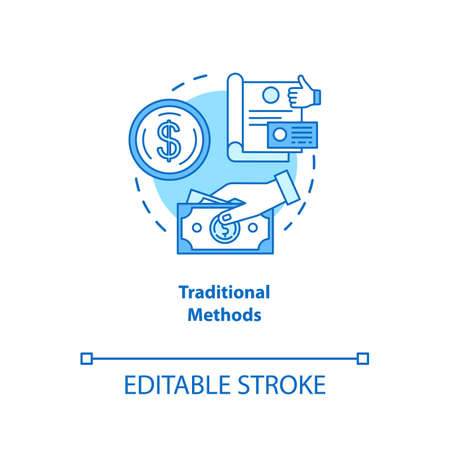 Traditional payment methods turquoise concept icon. Payment with physical money idea thin line illustration. Cash and coins. Cheque. Currency. Vector isolated outline drawing. Editable stroke