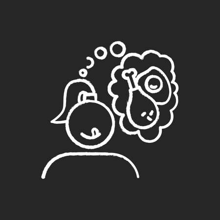 Fried food craving chalk icon. Woman thinking of fry egg and chicken thighs. Unhealthy eating habit. Girl hungry for fast food. Appetite for snack. Isolated vector chalkboard illustration