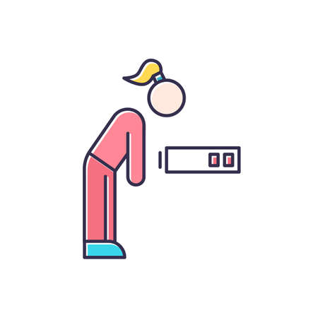 Fatigue color icon. Tired girl. Overworked woman. Exhausted person. PMS symptom. Overwhelmed workaholic. Depressed and unhappy human. Lethargy, weakness. Isolated vector illustration