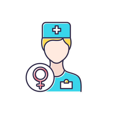 Gynecologist consultation color icon. Female health examination. Clinic appointment. Prenatal healthcare aid. Hospital visit. Doctor and therapist. Woman health. Isolated vector illustration