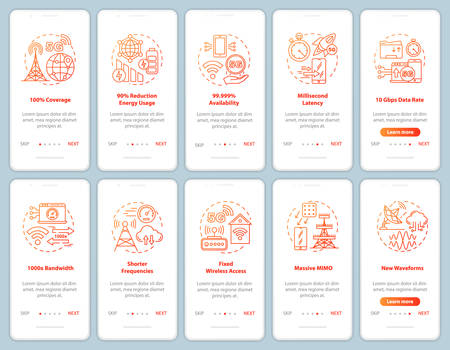 5G technologies onboarding mobile app page screen vector template. Shorter frequencies. Fixed access. Walkthrough website steps with linear illustrations. UX, UI, GUI smartphone interface concept Ilustración de vector