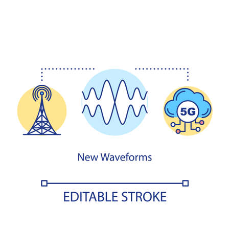 New waveforms concept icon. 5G technologies idea thin line illustration. Global coverege. Telecommunicational tower. Mobile internet. Vector isolated outline drawing. Editable stroke