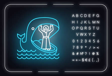 Jonah and whale neon light icon. Old Testament story. Jonahs miraculous return from jaws of huge fish. Bible narrative. Glowing sign with alphabet, numbers and symbols. Vector isolated illustration Иллюстрация