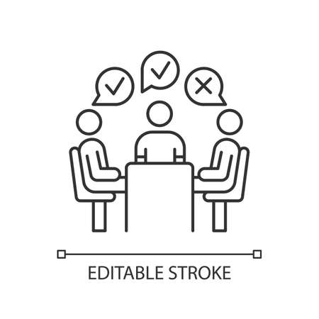 Group administered survey linear icon. Public opinion polling. Feedback. Customer satisfaction. Sampling. Thin line illustration. Contour symbol. Vector isolated outline drawing. Editable stroke