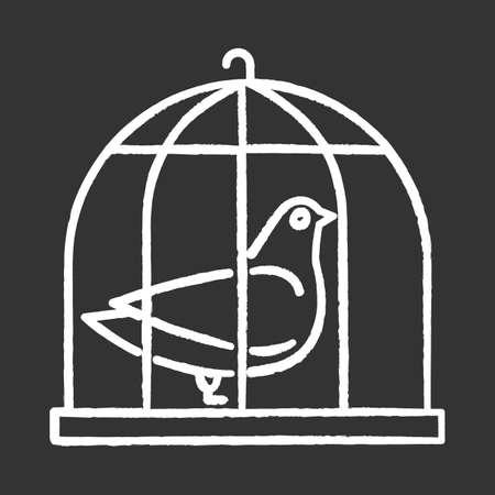 Pigeon in cage chalk icon. Captive bird. Harbinger of peace. Nightingale in captivity. Bible narrative. Christian symbol of purity. Gospel story. Isolated vector chalkboard illustration Ilustração