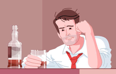 Male alcoholic flat vector illustration. Alcohol dependence. Alcoholism habitual. Hide from problems with whiskey. Sad, tired, drunk caucasian man holding glass of booze cartoon character