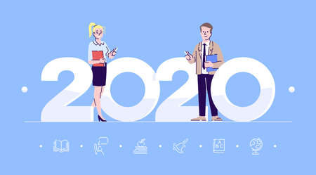 Professions 2020 flat banner vector template. Teachers isolated cartoon characters on blue. School or college educators keeping chalk. Banner, brochure page, leaflet design layout with place for text