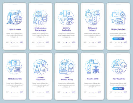 5G technologies onboarding mobile app page screen vector template. Fixed wireless access. Shorter frequencies. Walkthrough website steps, linear illustrations. UX, UI, GUI smartphone interface concept
