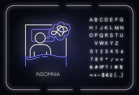 Insomnia neon light icon. Sleep deprivation. Person awake. Sleeplessness. Exhaustion, fatigue. Mental disorder. Glowing sign with alphabet, numbers and symbols. Vector isolated illustration Vecteurs