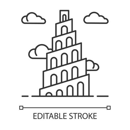 Babel Tower Bible story linear icon. Ziggurat. High structure in Babylonia. Exodus Biblical narrative. Thin line illustration. Contour symbol. Vector isolated outline drawing. Editable stroke
