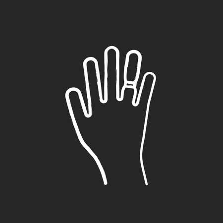 Swelling chalk icon. Weight gain. Swollen finger. Hand inflation. Joint trauma. Predmenstrual syndrome symptom. Overweight problem. Healthcare issue. Isolated vector chalkboard illustration