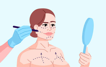 Plastic surgery addicted girl flat color vector illustration. Fashion victim. Aesthetic medical procedure. Woman getting ready for skin tightening isolated cartoon character on blue background