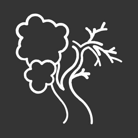 Fig tree chalk icon. Old half dead tree. Healthy leaved part and dying part symbol. Biblical plant of life. Bible narrative. Gospel story. Isolated vector chalkboard illustration Фото со стока - 137396843