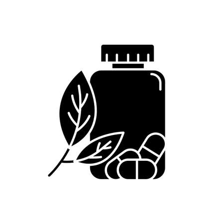 Herbal pills glyph icon. Homeopathy and holistic approach. Organic medication. Natural prescription. Pharmaceutical aid. Illness remedy. Silhouette symbol. Negative space. Vector isolated illustration Illusztráció