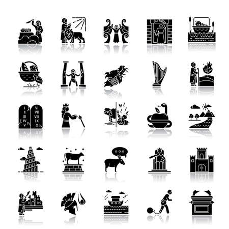 Bible narratives drop shadow black glyph icons set. Noah Ark, Babel tower. Moses, God myths. Religious legends. Christian religion, holy book scenes. Biblical stories. Isolated vector illustrations