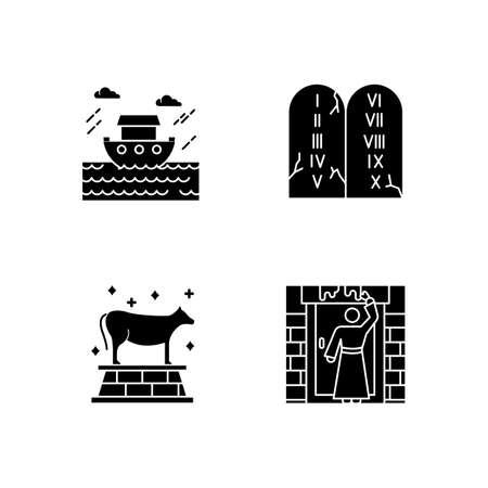 Bible narratives glyph icons set. The passover, the flood myths, ten commandments. Christian religion, holy book scenes. Biblical stories plot. Silhouette symbols. Vector isolated illustration Illustration
