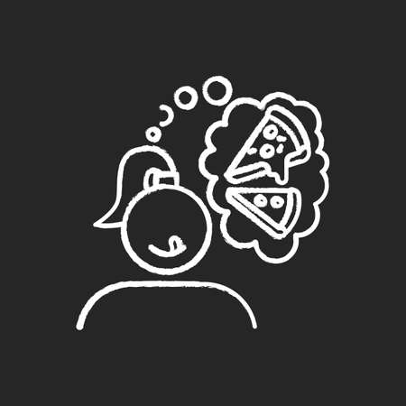 Pizza craving chalk icon. Woman thinking of fast food. Unhealthy treat. Appetite for italian cuisine. Margherita and pepperoni. Thought of junk food. Isolated vector chalkboard illustration