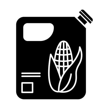 Plastic bottle of corn oil glyph icon. Organic chemistry. Vegetable oil produce. Corn ethanol for biofuel. Gasoline substitute. Silhouette symbol. Negative space. Vector isolated illustration