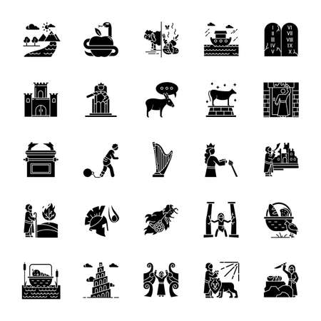 Bible narratives glyph icons set. Noah Ark, Babel tower. Moses, God myths. Religious legends. Christian religion, holy book scenes plot. Silhouette symbols. Vector isolated illustration