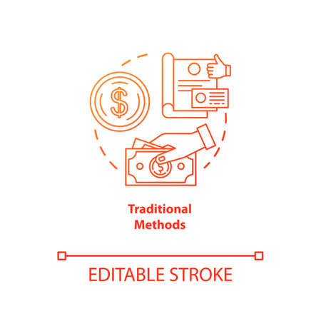 Traditional payment methods red gradient concept icon. Payment with physical money idea thin line illustration. Cash and coins. Cheque. Currency. Vector isolated outline drawing