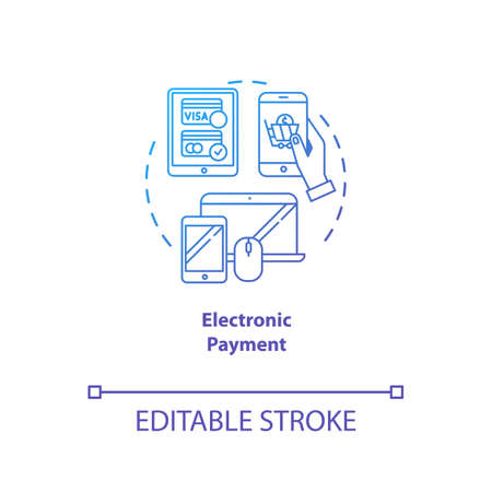 Electronic payment blue gradient concept icon. Digital financial transfer idea thin line illustration. Banking operation. Wireless transaction. E-payment. Vector isolated outline drawing