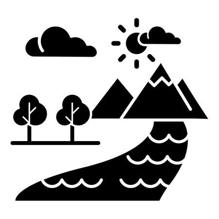 The Beginning Bible story glyph icon. World creation. Earth, paradise, heaven. Religious legend. Biblical narrative. Silhouette symbol. Negative space. Vector isolated illustration Illustration